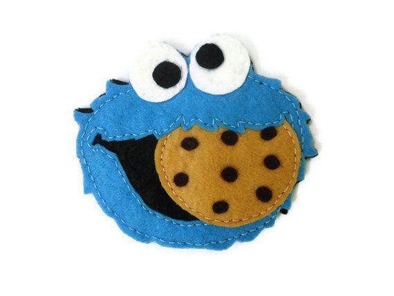 Felt brooch-brooch felt-felt pin-felt cookie monster brooch-cookie monster brooch-blue felt-felt jewelry-felt accessories. $12.00, via Etsy.