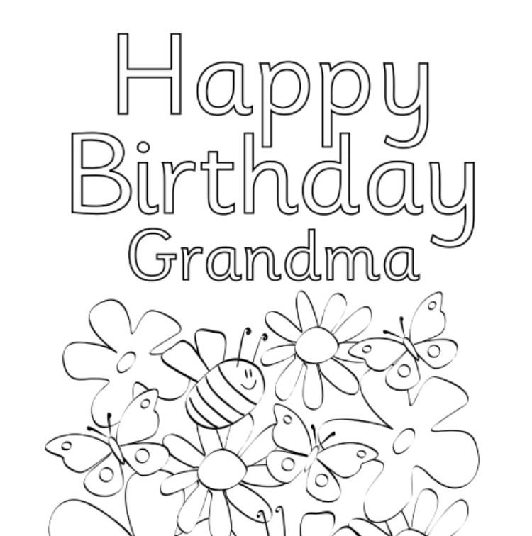 Free Printable Birthday Grandma Coloring Pages Grandma Birthday Card Happy Birthday Cards Printable Coloring Birthday Cards