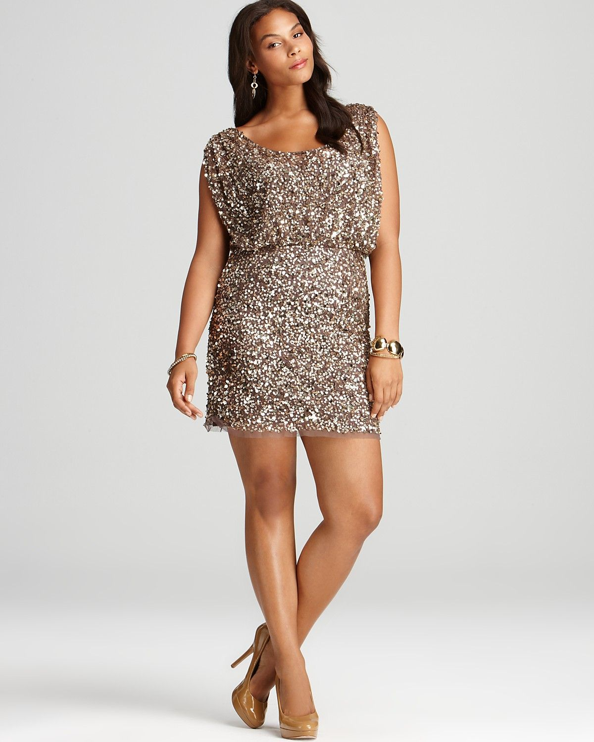 Aidan Mattox Plus Sequin Dress - Cap Sleeve | Bloomingdale's | Who ...