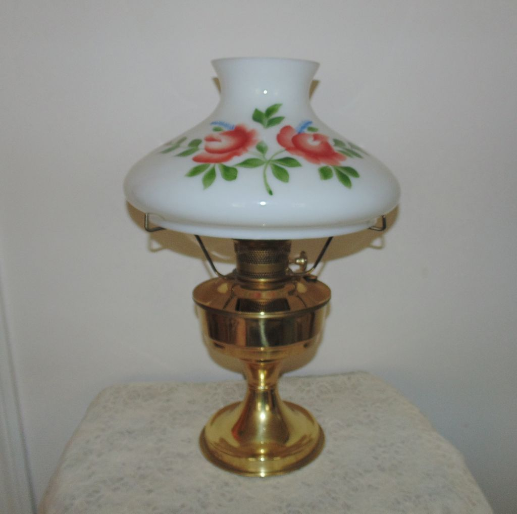 23 aladdin brass lamp oil kerosene w hand painted roses glass shade vintage 23 aladdin brass oil kerosene lamp w hand painted roses glass shade aloadofball Gallery