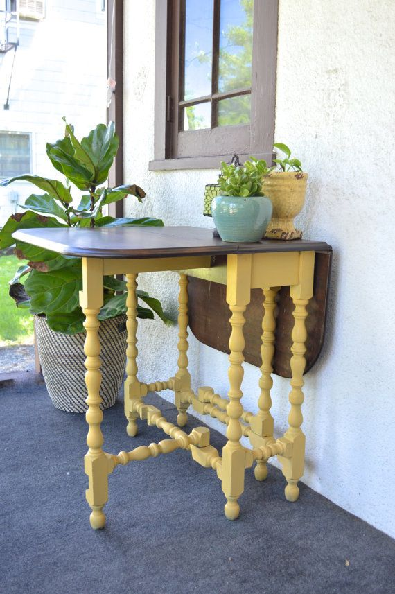 Painted Yellow Stained Antique Gate Leg Drop By
