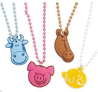 Farm Animal Beaded Necklace :  Each includes a 3.1cm - 4.5cm rubber charm on a 56cm plastic beaded cord