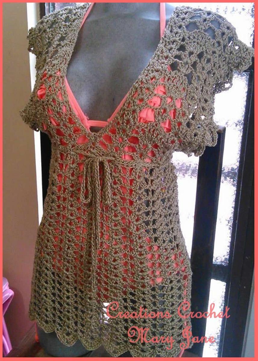 ab7220631877e Pareo O Blusa Tejida A Crochet -   450.00 en MercadoLibre
