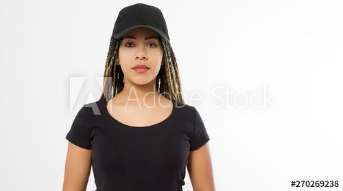 Template blank black t shirt and baseball hat. African american woman in summer clothes with copy space isolated on white background. Afro hairstyle. Mock up, place for print. Closeup girl front view – Summer outfits