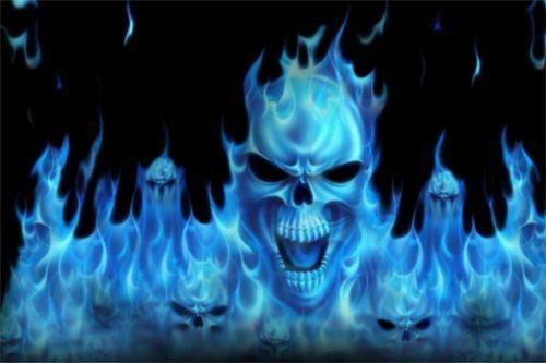 3pc Skull Flames Vinyl Decal Wrap Sticker Motorcycle Car Truck