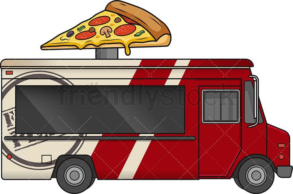 Pizza Food Truck Side View Cartoon Vector Clipart Friendlystock Pizza Food Truck Food Truck Pizza Recipes