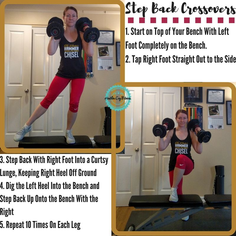#LegDay!  These are step back crossovers and they are KILLER!  Start with both feet on the bench, keeping your foot completely on the bench. Tap your right foot out straight to the right side.  Step back with your right foot to cross behind the left leg in a curtsy lunge. That means you'll keep your right heel of the ground.  Dig your left heel into the bench for stability, and use those quad muscles to bring your right foot back up and tap.  10 reps each side, repeat 3x. :)