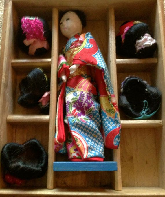 Vintage Hanako Japanese Doll with 5 wigs in by oodlesofrandomstuff