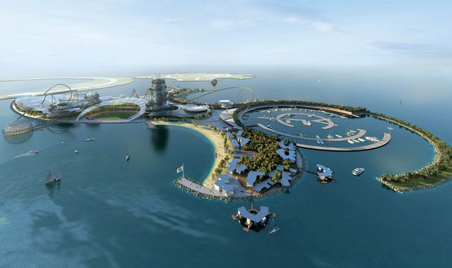 Top European football club Real Madrid has unveiled plans to spend $1bn (£630,000,000) to build a lavish resort island in the United Arab Emirates, complete with luxury hotels, marina and amusement park.    The opulent resort on the artificial island of Al Marjan also will house a 10,000-seat stadium, half of which will be open to the sea, as well as sports facilities, a club museum and a residential area.