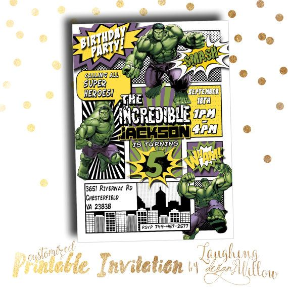 Incredible Hulk Invitation Birthday Party Comic Book Customized Superhero PRINTABLE