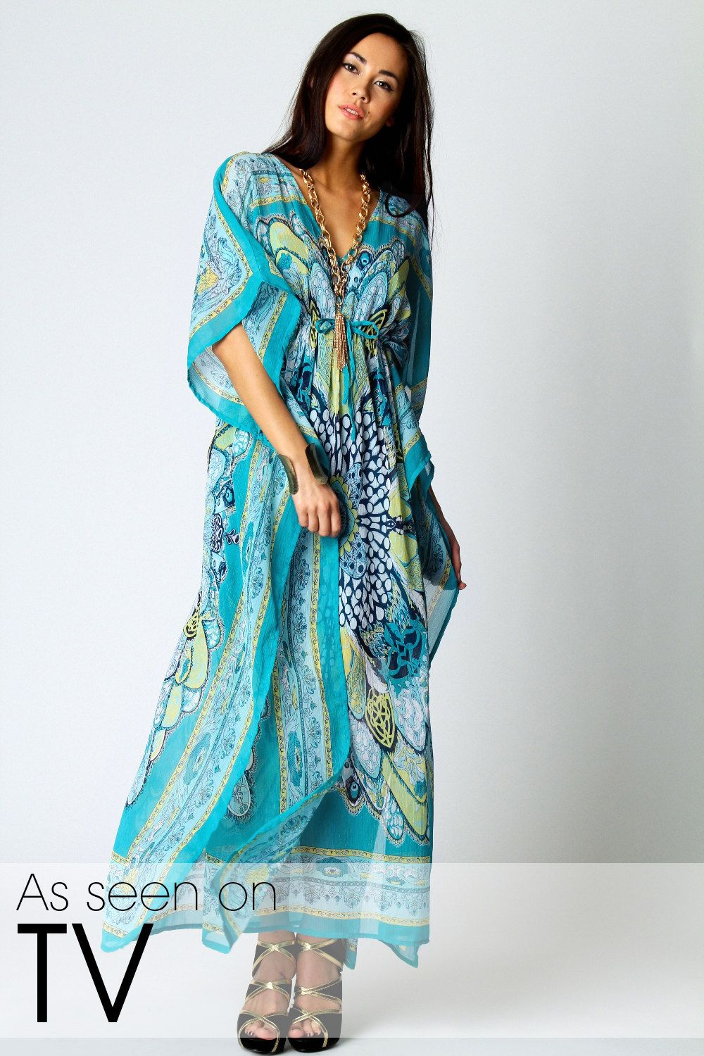 Kara v neck paisley print maxi kaftan dress from boohoo kaftan