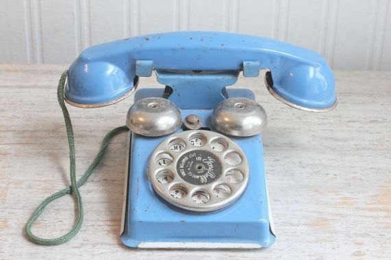 Tin Toy Phone Metal Toy Phone 1950s Gong Bell MFG CO by MollyFinds