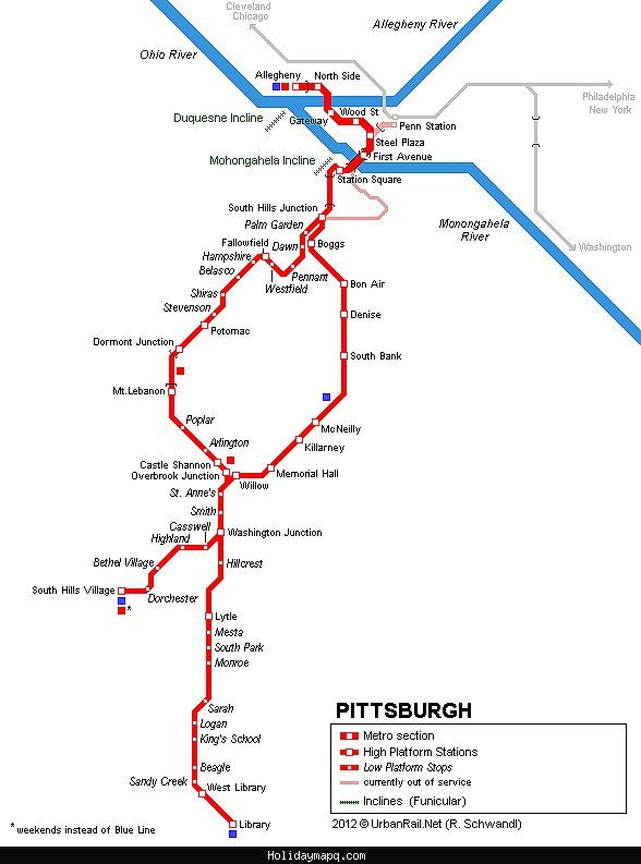 awesome Pittsburgh Metro Map | Holidaymapq in 2019 | Light rail
