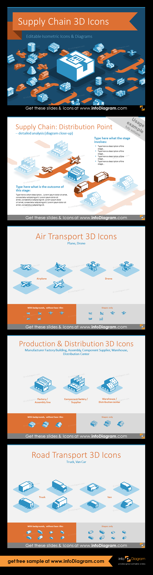 3D Supply Chain Vector Icons (PPT isometric graphics