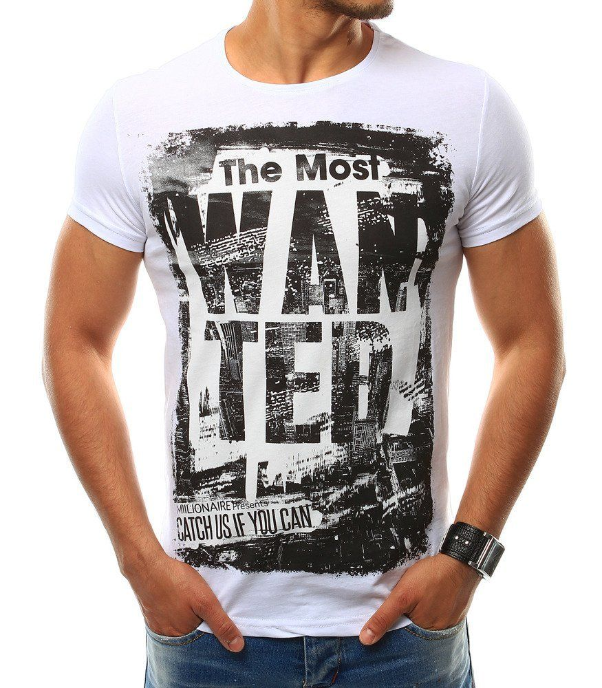 10c98ed80bc4 Biele pánske tričko T-shirt s potlačou. Vyrobené z mäkkého