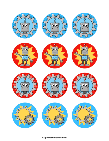 Robot cupcake toppers. Use the circles for cupcakes, party favor tags, and more. Free printable PDF download at http://cupcakeprintables.com/toppers/robot-cupcake-toppers/