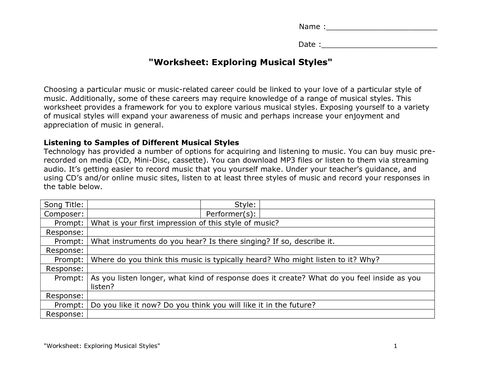 music genre worksheets   Worksheet Exploring Musical Styles   Music  assessments [ 1275 x 1650 Pixel ]
