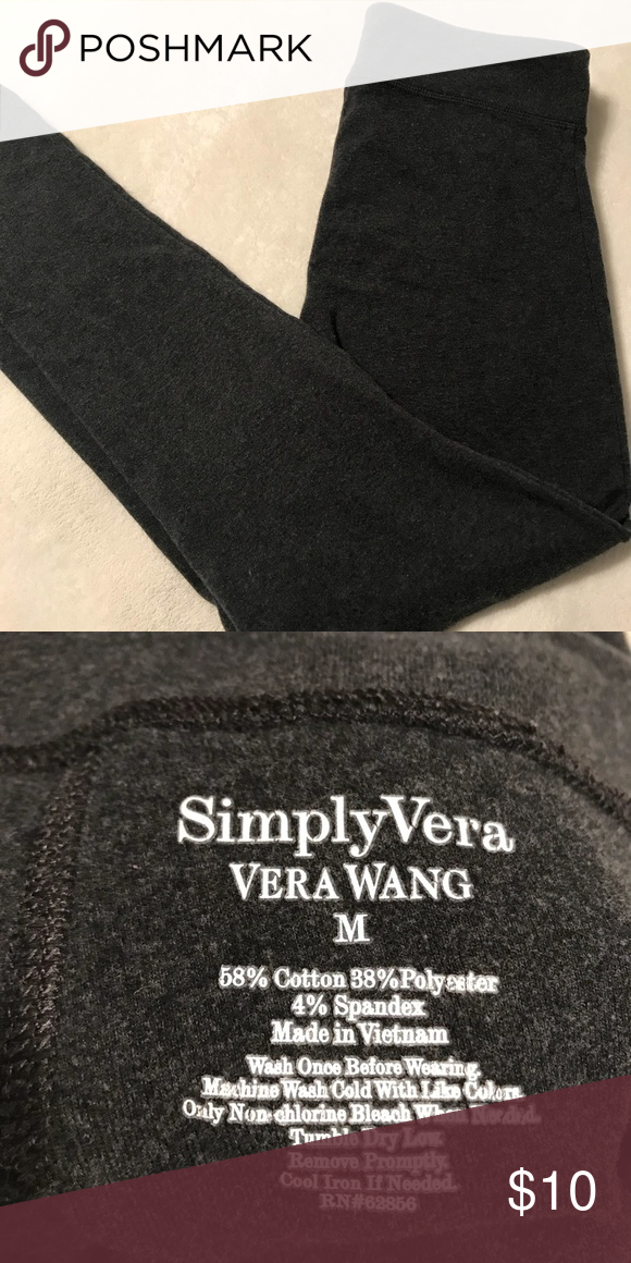 25f56f7a45239 Charcoal Gray Simply Vera by Vera Wang Leggings Charcoal gray leggings by simply  Vera by Vera wang. Size medium. Used but well taken care of.