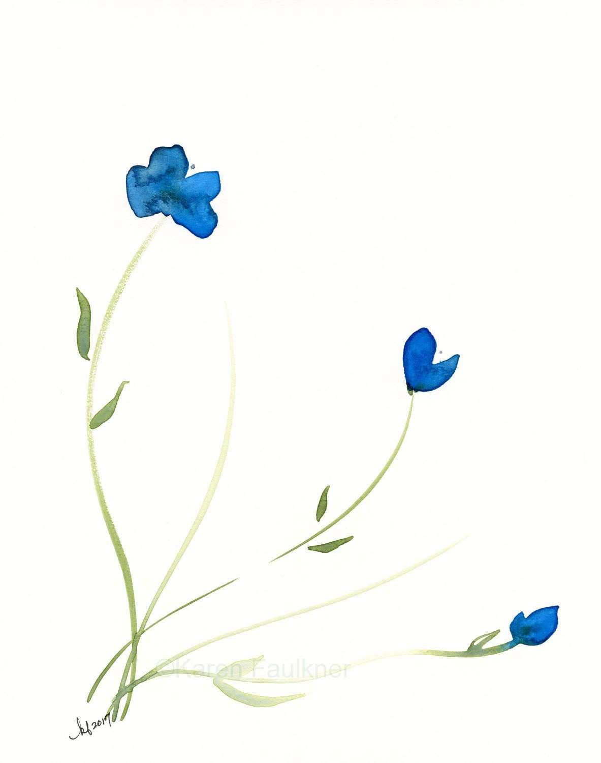 Original Floral Watercolor Painting Azure Blooms By