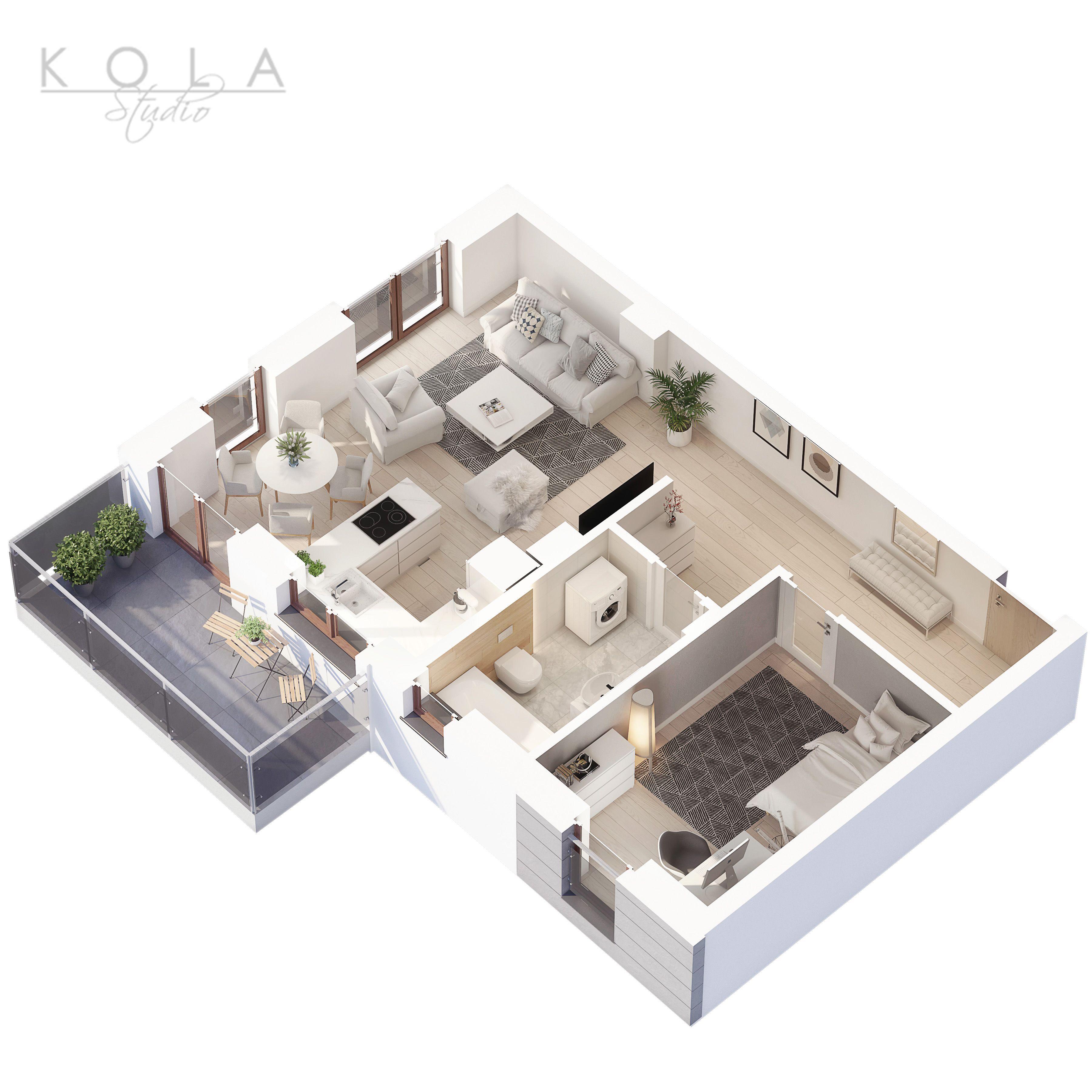 New 2 Bedroom Apartment With Balcony 3d Floor Layout Newhome Newapartment Houseplan 3dplan Layflatphoto Topview Denah Rumah Rumah Ide Dekorasi Kamar