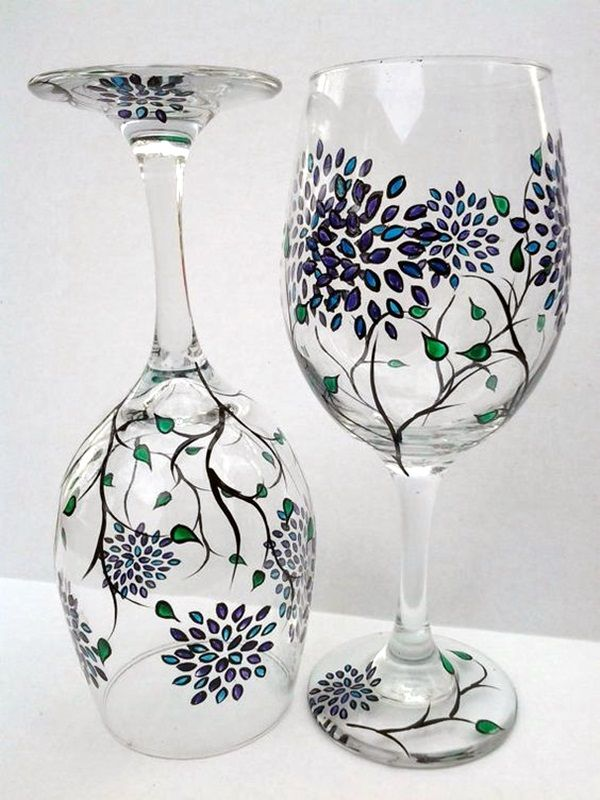 40 artistic wine glass painting ideas wine glass and for Best glass painting designs
