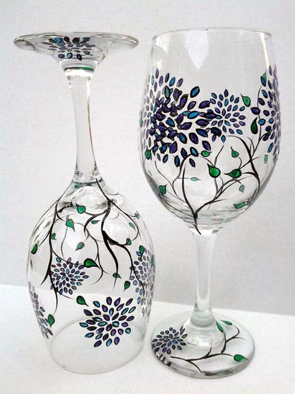 40 Artistic Wine Glass Painting Ideas Bored Art Painted Wine Glasses Painted Wine Glass Hand Painted Wine Glasses