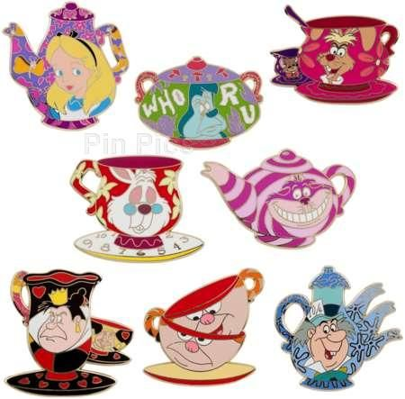 disney pins alice in wonderland tea set addicted to disney pins pinterest zeichentrick. Black Bedroom Furniture Sets. Home Design Ideas