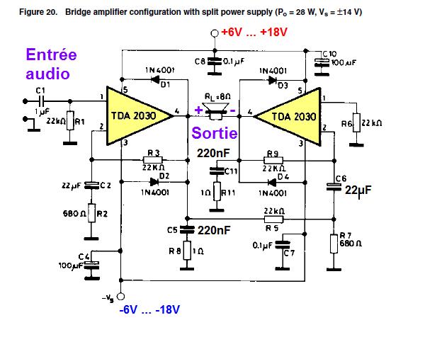 ampli tda2030 bridge schema 0 | TAMPON ! ! | Pinterest