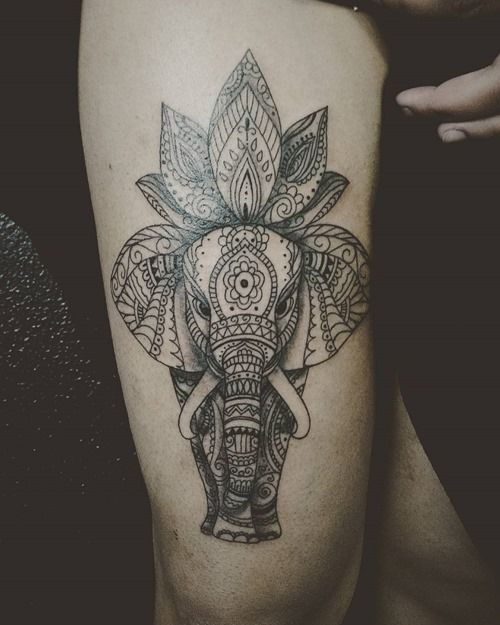 270be787de16e 35 Stunning Lotus Flower Tattoo Design | Animal drawings | Elephant ...
