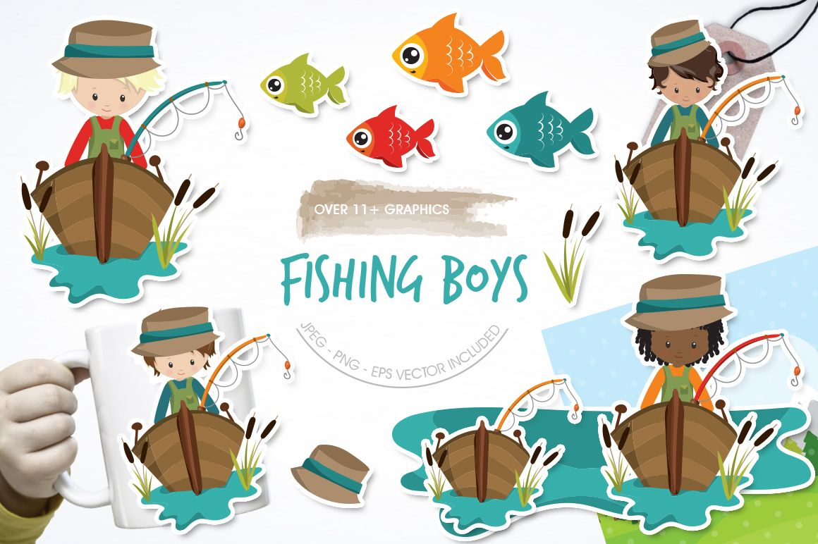 Fishing Boys Graphic By Prettygrafik Creative Fabrica Boy Fishing Graphic Illustration Tag Art