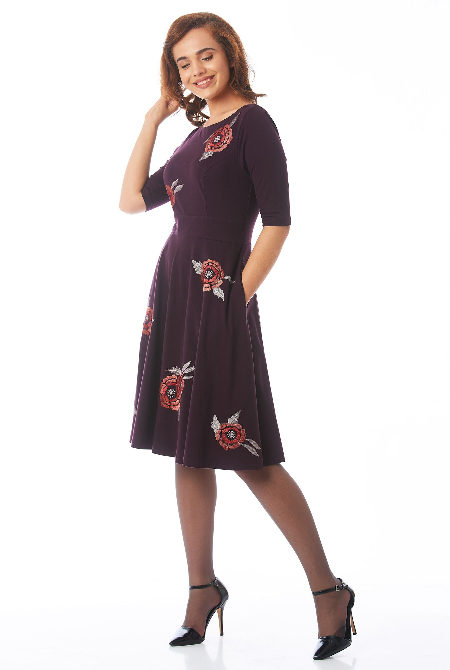 53e3430d3b1 Add instant pretty to any look with our bloom embroidered dress in soft  cotton jersey knit and styled with a boat neck