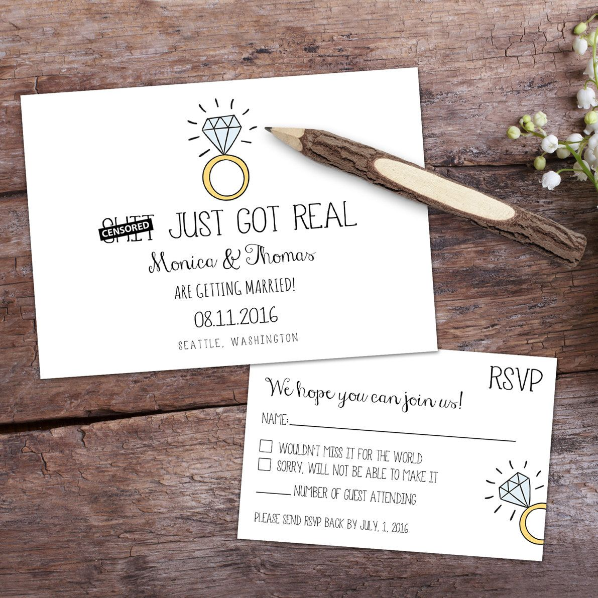 Fun Wedding Rsvp Card Wording: Save The Date & RSVP Custom Cards. Funny Engagement