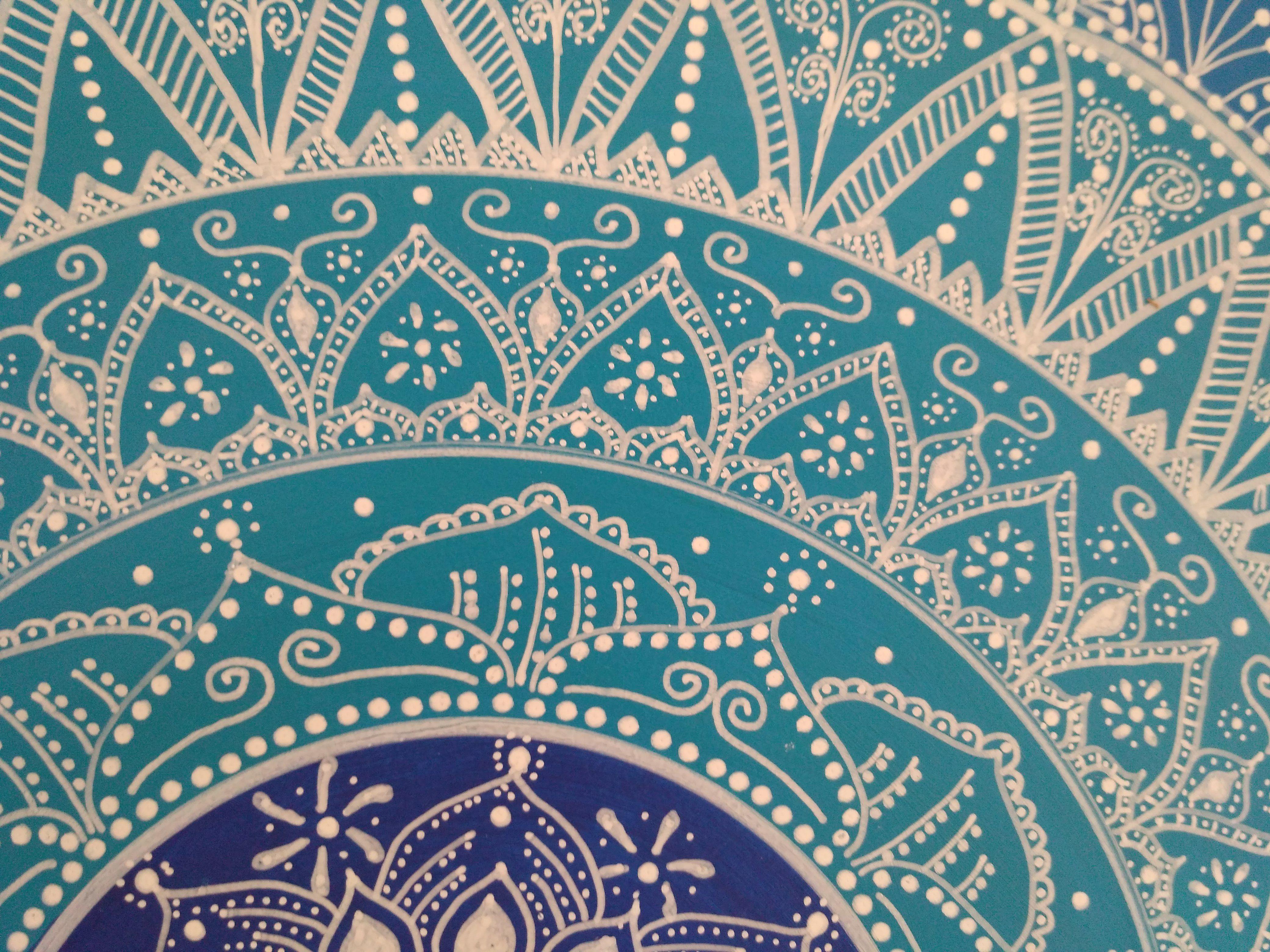 Cabecero cuadro mandala realizado en dm con acrilicos y - Cuadros mandalas ...
