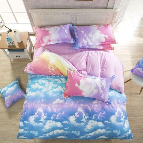 Harajuku Galaxy Sheet Bedding Bag Four Piece From Cute Kawaii Harajuku Fashion Bed Linen Sets Cloud Bedroom Duvet Cover Sets