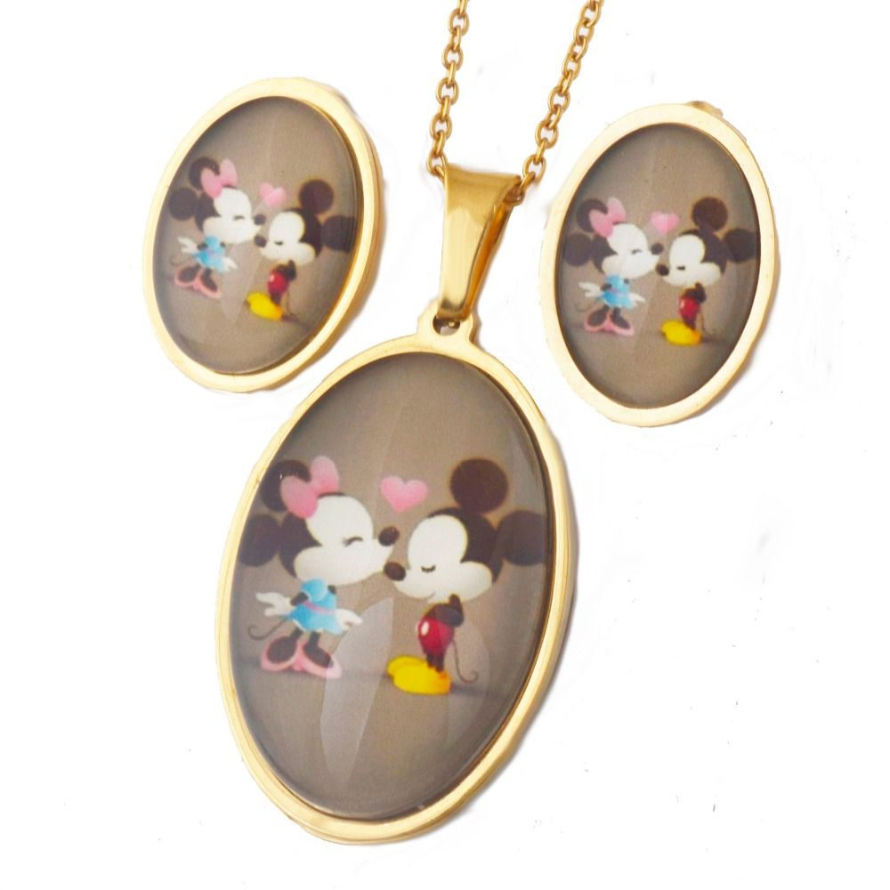 Hot sale movie couple love mouse necklaceearring set stainless