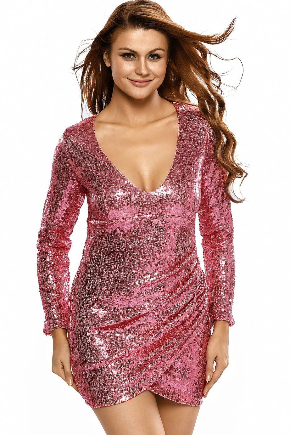 Pink Ruched Long Sleeve Nightclub Cocktail Sequin Dress | Sequins ...