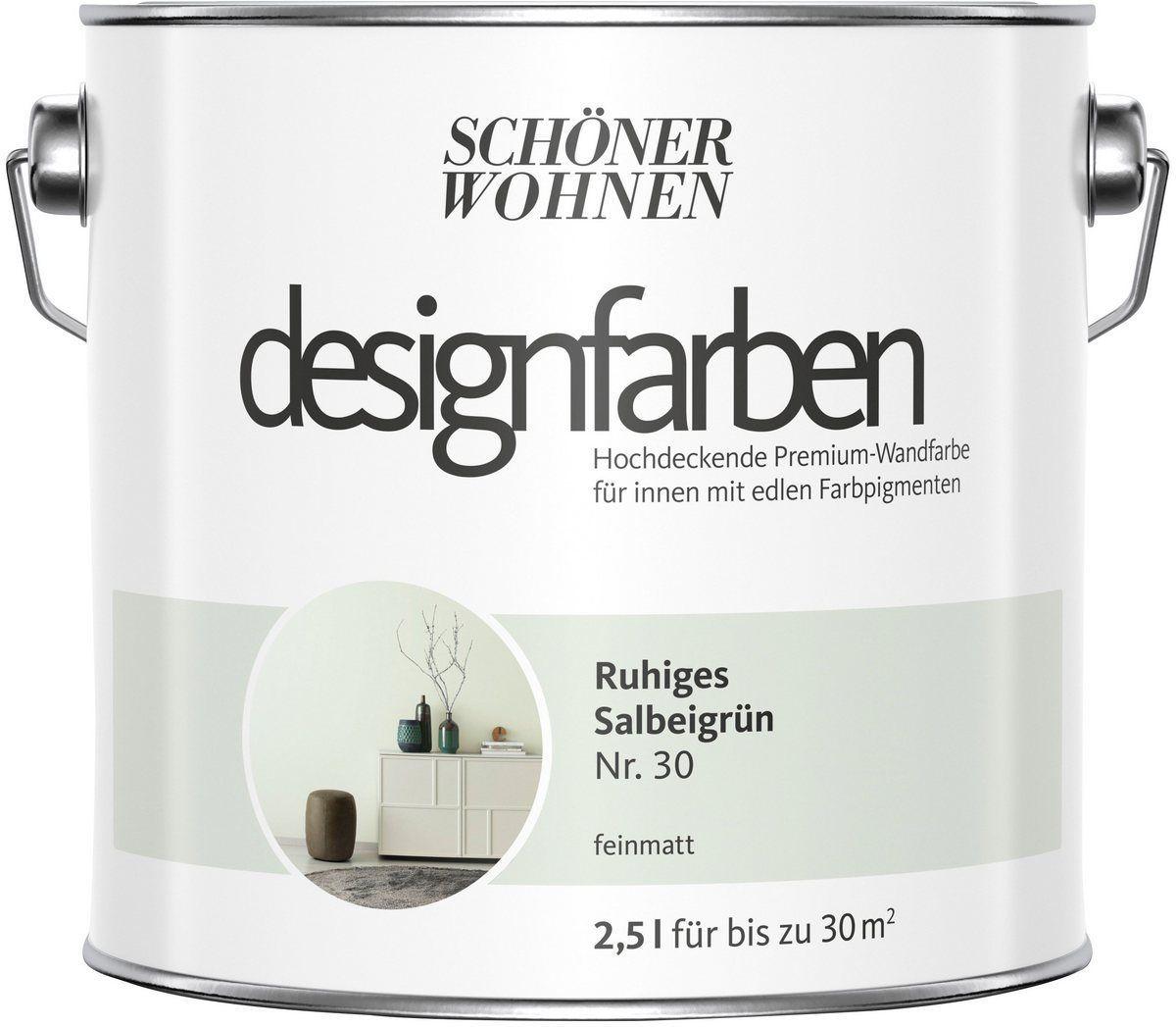 Schoner Wohnen Farbe Farbe Designfarben Ruhiges Salbeigrun Nr 30 Feinmatt 2 5 L Designfarben Salbeigrun Feinmatt In 2020 House Interior Sweet Home Interior
