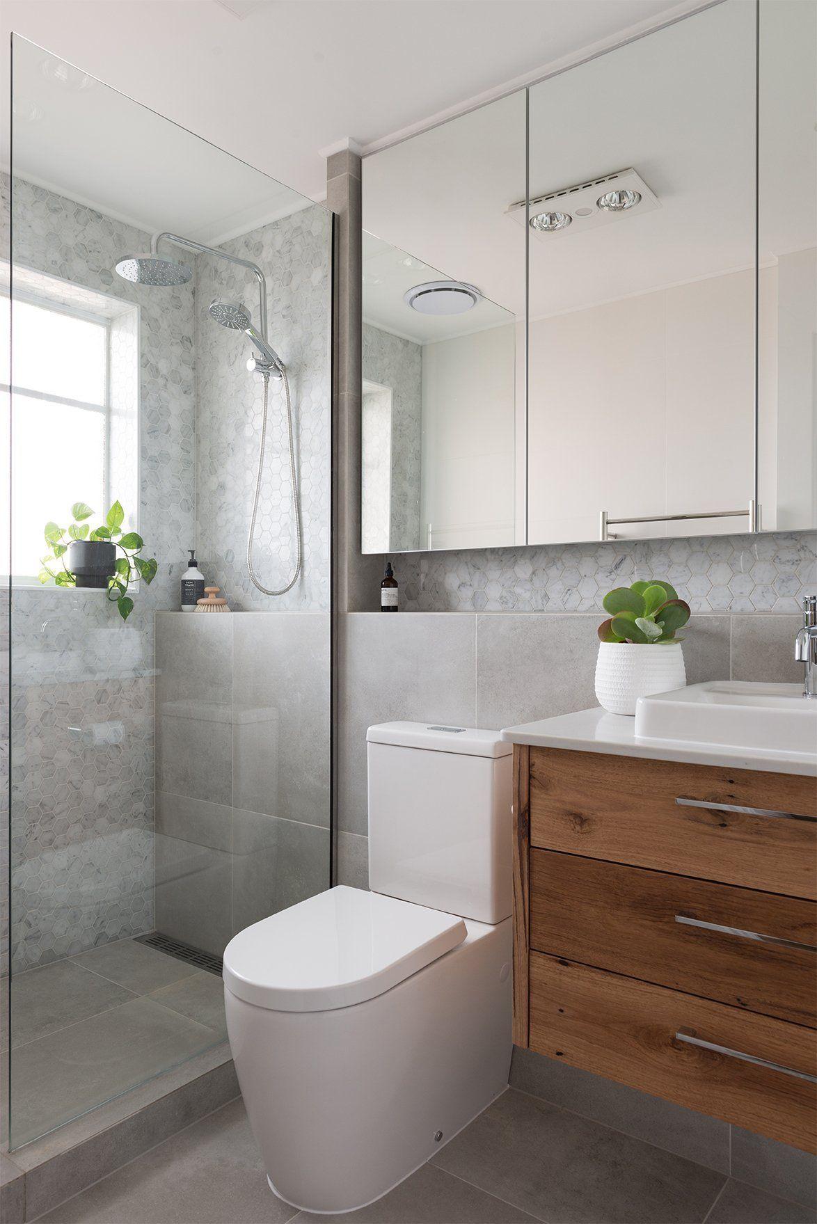 Littletoorak Bathroom After Modern Bathroom Renovation Timber Vanity Walk In Shower Carrara M In 2020 Modern Bathroom Renovations Modern Bathroom Concrete Bathroom