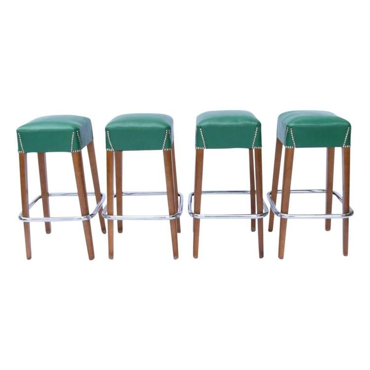 4 Vintage 1950s Restaurant Bar Stools By Chairmasters From Mariou0027s  Millburn, NJ. Green