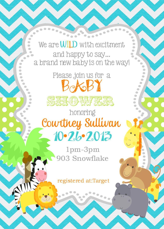 Jungle Animals Baby Shower Invitation Digital Or Printable