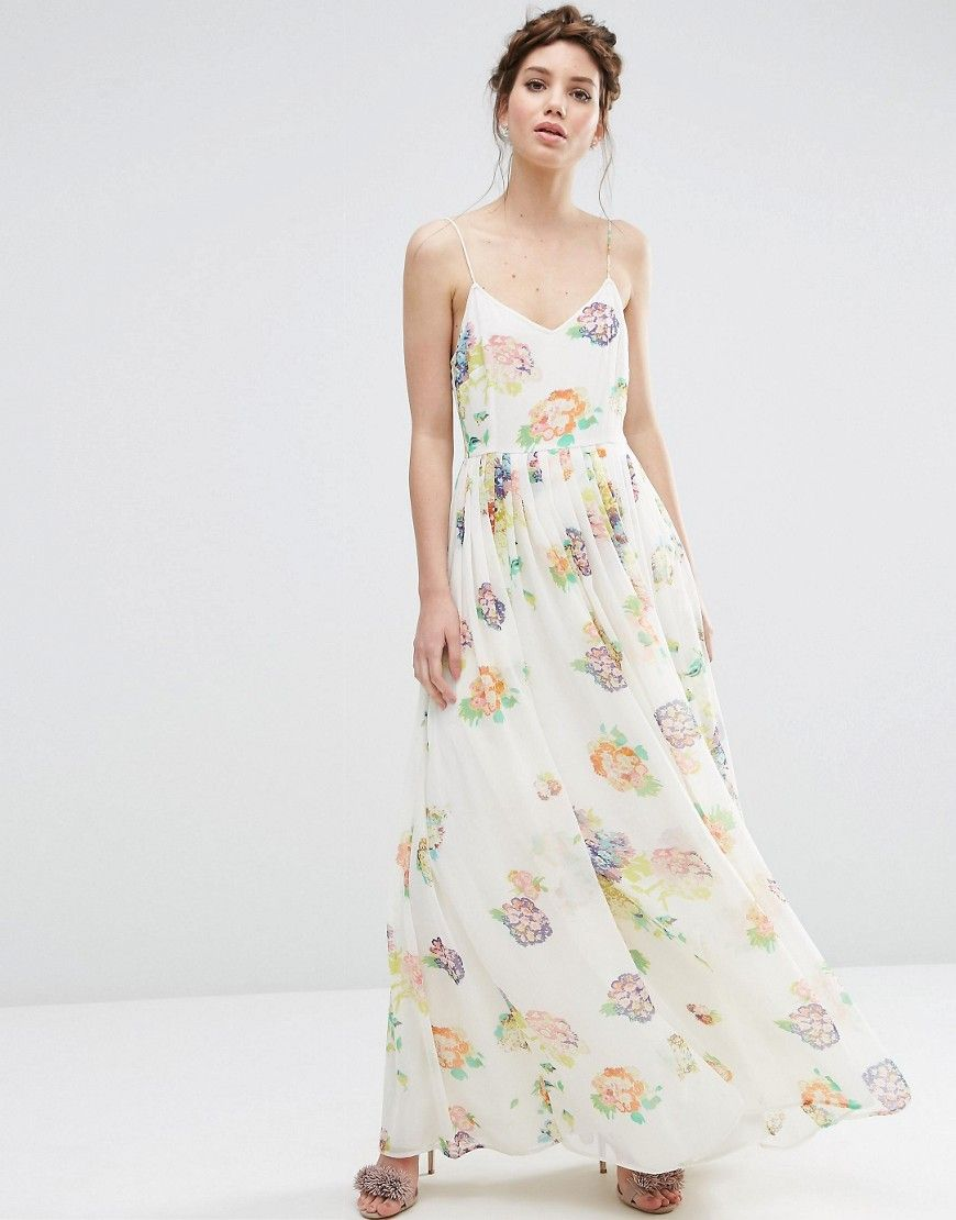 Asos Strappy Pleated Maxi Dress In Floral Print At Asos Com Maxi Dress Tall Maxi Dress High Low Midi Dress