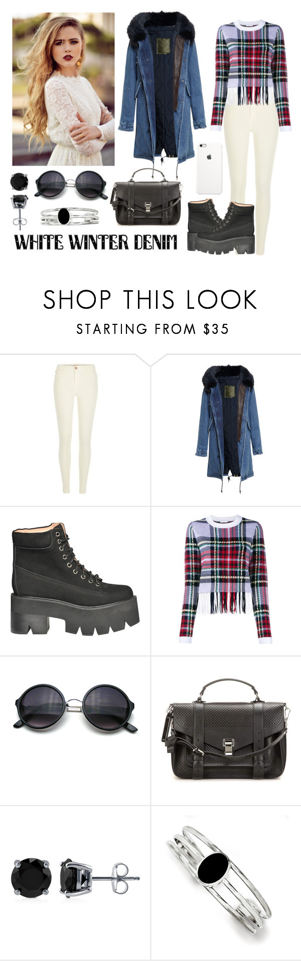 """257-> White Winter Denim"" by dimibra ❤ liked on Polyvore featuring mode, River Island, Mr & Mrs Italy, Jeffrey Campbell, Chloé, Proenza Schouler, BERRICLE, Kevin Jewelers, women's clothing en women's fashion"