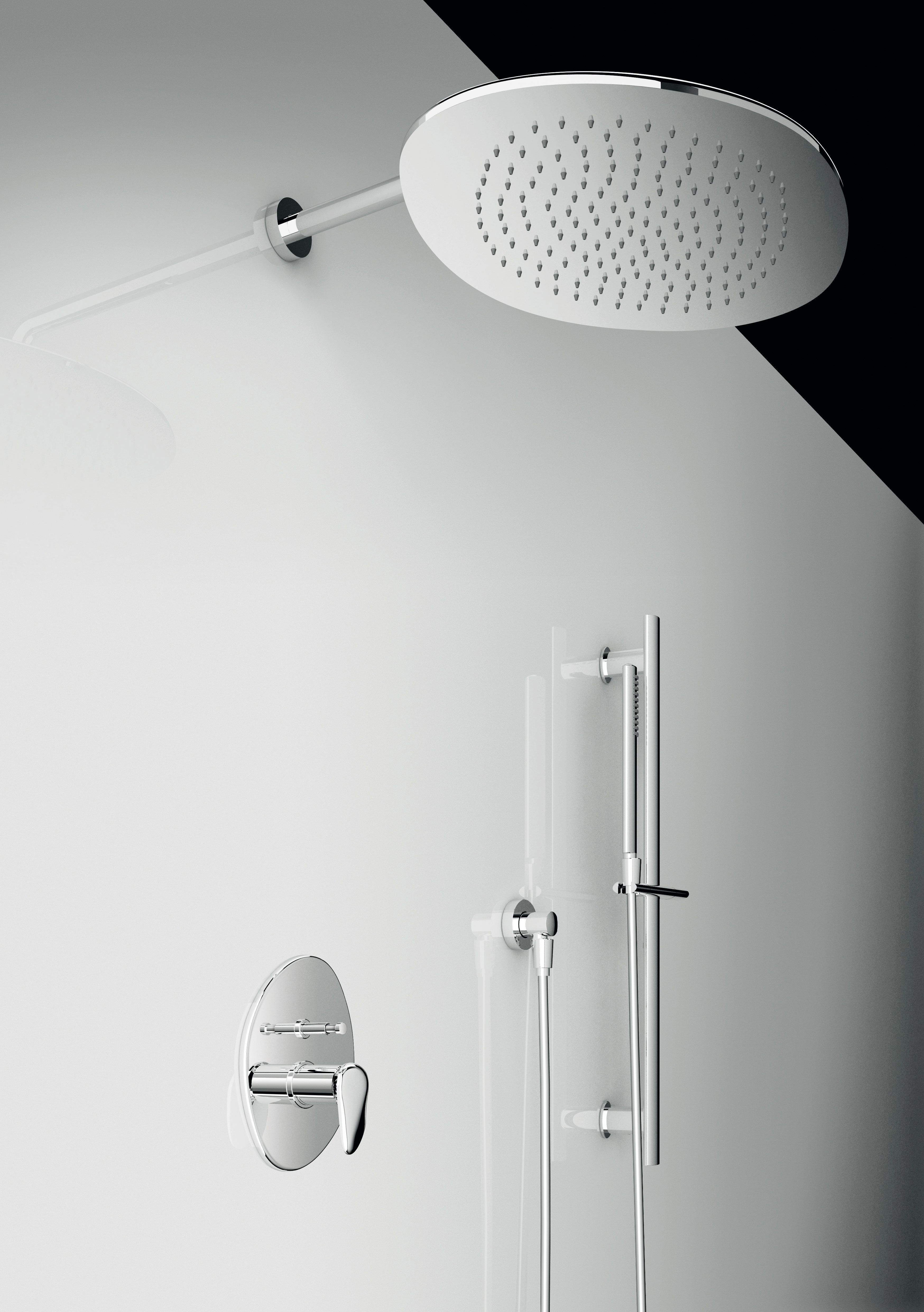 Wall-mounted shower head, Chrome finishing; wall-mounted built-in ...