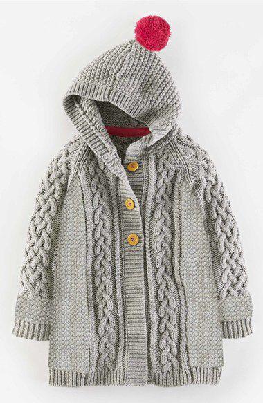 276861da57e7 Mini Boden Long Hooded Cable Knit Cardigan