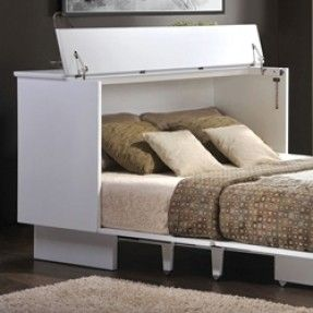 Creden-ZzZ Cottage Style Cabinet Bed Pekoe Finish -- memory foam ...