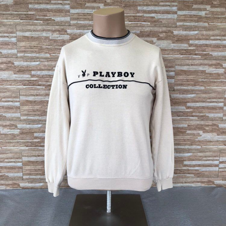 c7b922867f0c Excited to share the latest addition to my  etsy shop  Vintage 90 s VIP  Playboy Collection Spellout Embroidery Sweatshirts Crewneck Playboy Jumpers  Cream ...