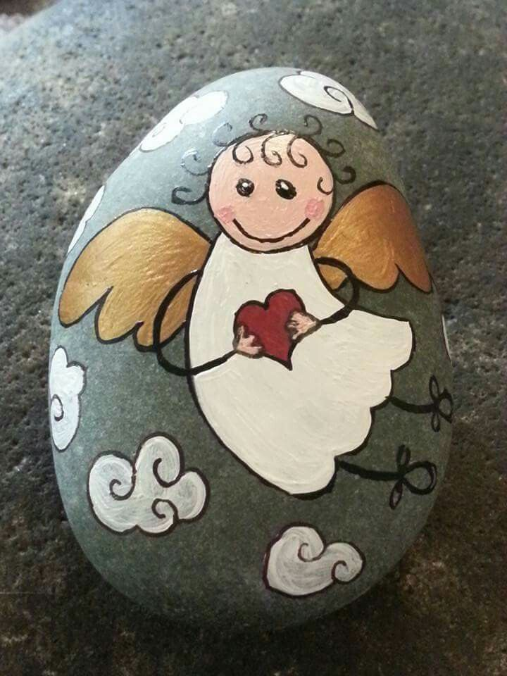 Painted Rock This Little Guardian Angel With Watch Over You Mit Bildern Engel Basteln Kreative Ideen Bastelideen