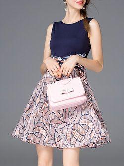 Multicolor Sleeveless Geometric Mini Dress
