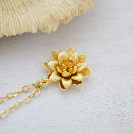Gold lotus flower necklace 14k gold filled by twistedsilverdesign gold lotus flower necklace 14k gold filled by twistedsilverdesign 3250 mozeypictures Image collections