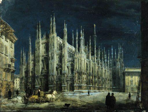 Angelo Inganni (1807-1880) Notturno di Piazza del Duomo a Milano  firmato Angelo Inganni fece  olio su tela  cm 30x40